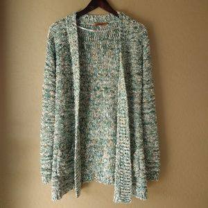 Belldini Chunky Knit Textured Open Front Cardigan
